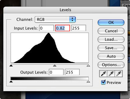 Screenshot of the PhotoShop Levels dialog