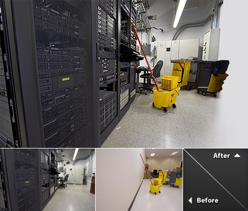 A digital composite made of Janitorial Equipment crowded in a server room.